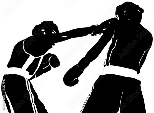 black silhouette boxer straight right punch to head fight Boxing