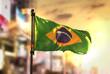 Quadro Brazil Flag Against City Blurred Background At Sunrise Backlight