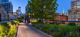 Highline panoramic view at twilight with city lights, illuminated skyscrapers and high-rises. Chelsea, Manhattan, New York City - 154238793