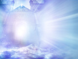 mystic angelic gate with divine rays of light like a magic background with copy space  - 154241531