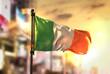 Ireland Flag Against City Blurred Background At Sunrise Backlight - 154246320