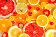 fresh trendy seamless pattern sliced mixed citrus fruits like background with different berries, concept of healthy eating, dieting, top down