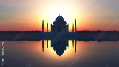 Taj Mahal o zachodzie słońca