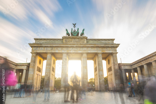Berlin Brandenburg gate at sunset, long exposure