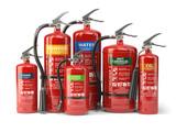 Fire extinguishers isolated on white background. Various types of extinguishers. - 154285510