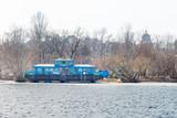 Blue houseboat on the Dnieper river in Kiev, Ukraine