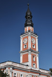 Baroque Town Hall tower on the market in Leszno.