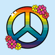 nice hippie emblem with flowers design