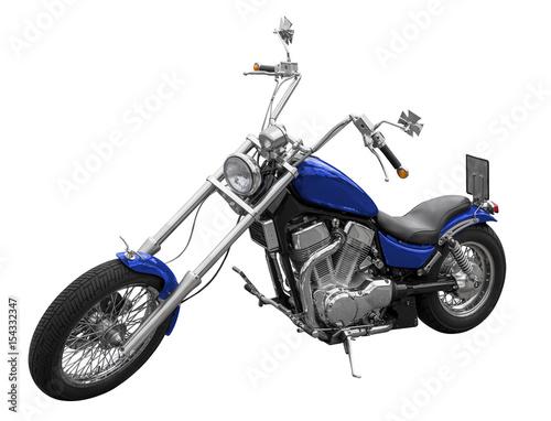Foto op Canvas Fiets blaues oldtimer motorrad