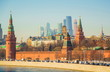 View of the Kremlin and the Kremlin embankment in winter Moscow