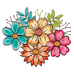 Bouquet of colorful flowers with branches and leaves over white background. Vector illustration,