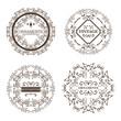Set of round ornamental frames over white background. Vector illustration. - 154422791