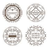 Set of round ornamental frames over white background. Vector illustration.