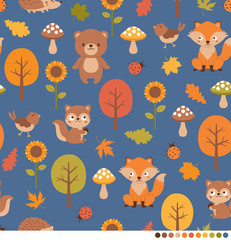 Autumn forest pattern with cute animals illustration.
