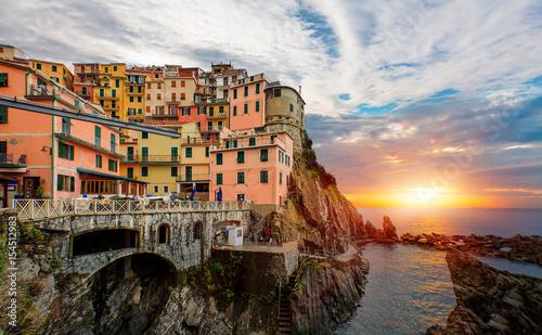 Fotobehang Liguria Beautiful view of Manarola town, Cinque Terre, Liguria, Italy