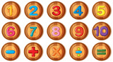 Font design for numbers and signs on round badges