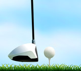 Golf club and golf ball on the lawn