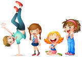 Children characters on white background