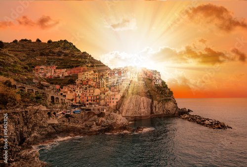 Poster Liguria Beautiful view of Manarola town, Cinque Terre, Liguria, Italy
