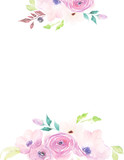 Watercolor template with flowers for wedding, invitation