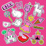 Little Princess Stickers, Badges and Patches. Doodle for Cute Girl with Unicorn, Crown and Lollipop. Vector illustration