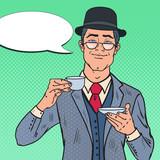 Pop Art English Man Drinking Tea on the Morning. Coffee Break. Vector illustration