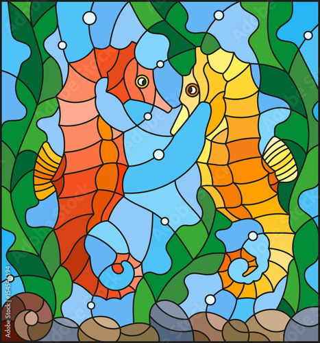 illustration-in-stained-glass-style-with-a-pair-of-fish-seahors