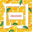 Square white frame and rectangle label on citrus orange fruit background. Vector card illustration. - 154546527