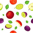 Seamless vector pattern of ripe apple and plum fruit. White background with delicious juicy plums and apples slice half leaves. Vector fresh fruit Illustration for printing on fabric, textile design. - 154546751