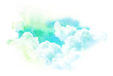 Watercolor illustration of sky with cloud. - 154554365
