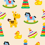 Baby toys seamless pattern. Vector illustration. A set of children's toys.