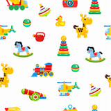 Seamless pattern children's toys. Colorful illustration.