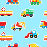 Seamless pattern, vector illustration. Toys transport. A paper label.