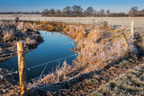 Winter countryside landscape on a frosty morning