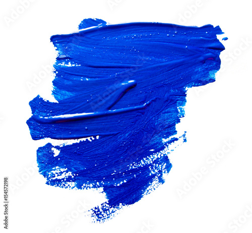 Blue strokes of the paint brush isolated