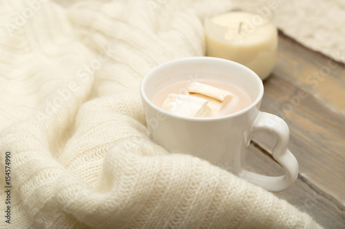 Foto op Canvas Chocolade Hot chocolate, marshmallow, knitted, warm plaid on a wooden background