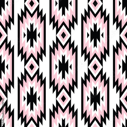 Vector trendy seamless decorative ethnic pattern. Pink and black colors. Boho geometric style. - 154578736