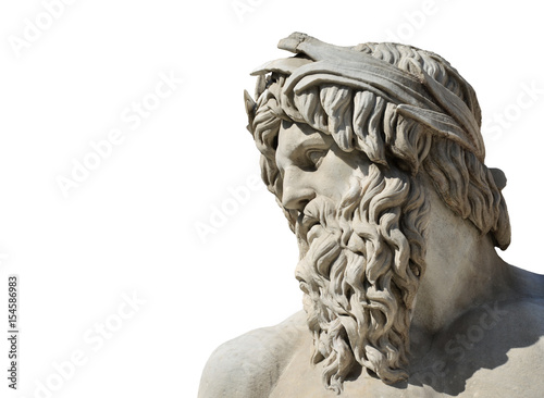 River Ganges marble statue as Greek or Roman God (isolated on white background) Poster
