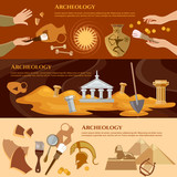 Archeology and paleontology banner. Archaeological excavation and achaeologists unearth ancient artifacts ancient history vector - 154611591