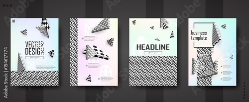 3d vector background. Flying isometric black and white figures on pastel background with contrasting texture. Template A4 for design posters, banners, flyers, covers, placards, magazines, books, web. - 154617774