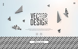 3d vector background. Flying isometric black and white figures on a blurred pastel background with a border of contrasting texture. Modern minimalistic template for design. EPS 1