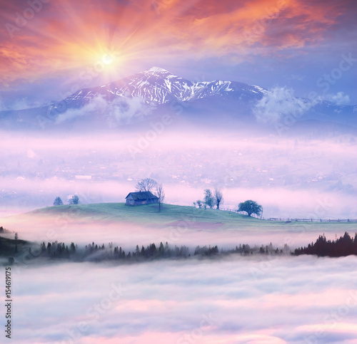 Fotobehang Purper Lazeyschina Lazeshchyna village in the mist