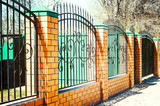 Brick and Metal Fence with Door and Gate of Modern Style Design Metal Fence Ideas. - 154630933