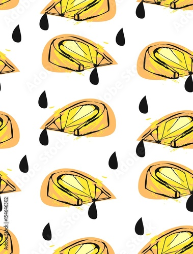 Hand drawn vector abstract unusual summer time seamless pattern with lemon slice and juice drops isolated on white background.Fashion,menu,journalling,logo,design,brand. - 154646302