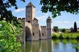 The landmark medieval Pont Valentre bridge in Cahors, France