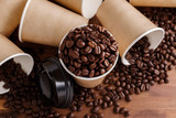 Coffee beans with paper cups - 154655546