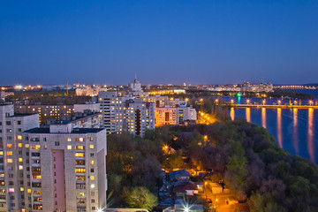 Evening Voronezh. View to Voronezh water reservoir, bridge and residential area
