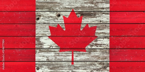 Keuken foto achterwand Canada Canadian flag on a weathered rustic wood background