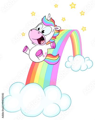 Niedliches Einhorn rutscht auf Regenbogen Vektor Illustration