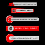 Red lower third banners isolated on black background - 154722536